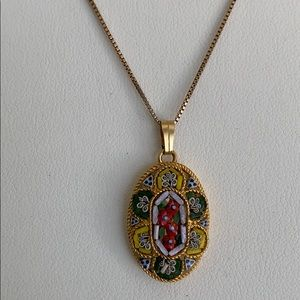 Micro mosaic pendant necklace from Italy